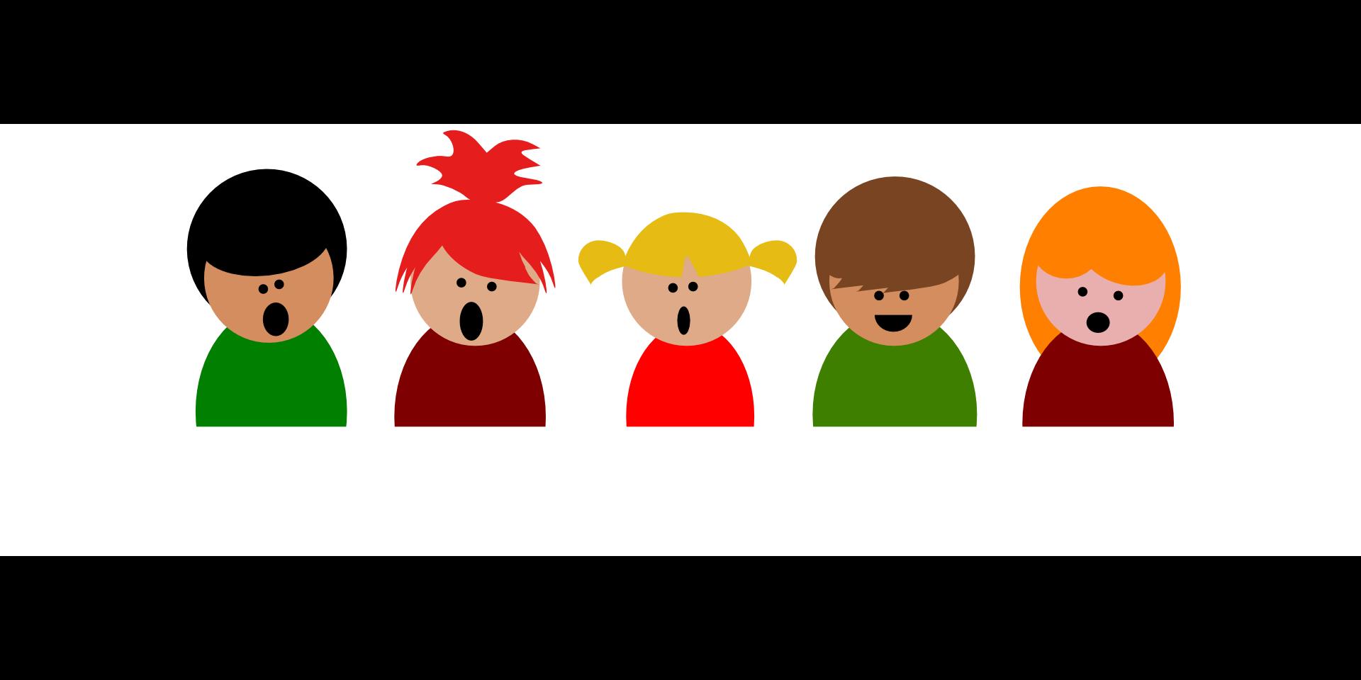 Tegning av syngende barn